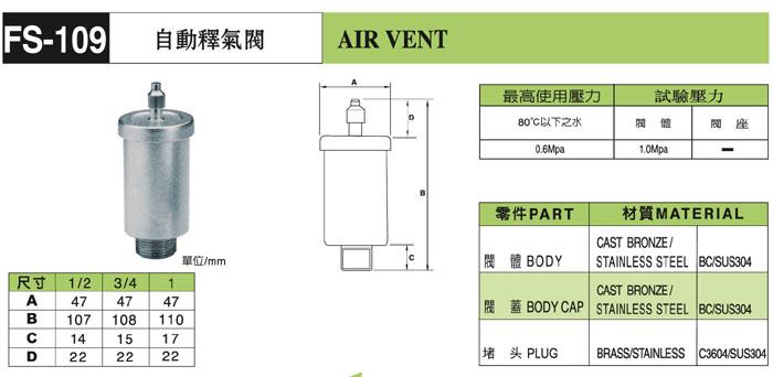 台湾富山自動釋氣閥