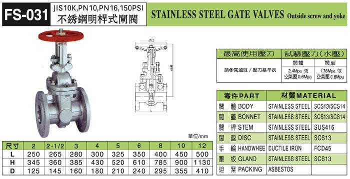 台湾富山不銹鋼明桿式閘閥